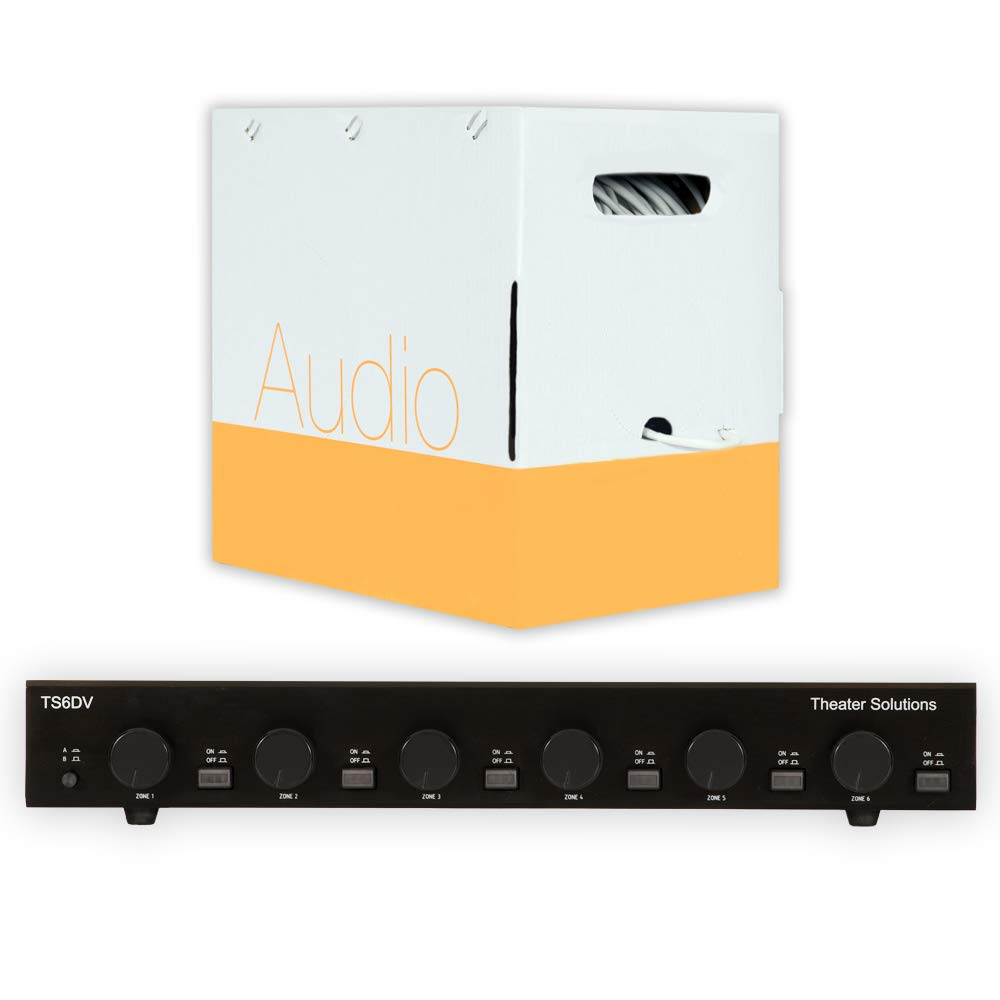 Theater Solutions TS6DV Dual Input 6 Zone Speaker Selector Box with Volume Controls and 500' of C500-16-2 Wire