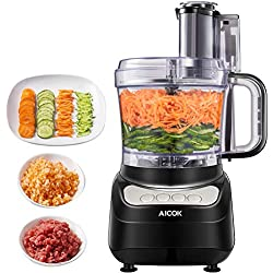 Food Processor 12-Cup, Aicok Food Processor Blender, 1.8L Food Processor 12-Cup, Aicok Multi-Function Food Processor, 1.8L, 3 Speed Options, 2 Chopping Blades & 1 Disc, Safety Interlocking Design, 500W, Black