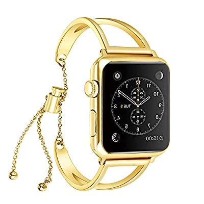 KoudHug Bracelet Compatible Apple Watch Band 38mm 40mm 42mm 44mm iWatch Series 4/3/2/1, Stainless Steel Apple Watch Band Women Cuff Wristband