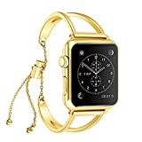 KoudHug Bracelet Compatible with Apple Watch Band 42mm 44mm, Stainless Steel Cuff Jewelry iWatch Bands Series 4/3/2/1 Wristbands Women Girls Pendant Tassel, Gift Wrap (Gold, 42mm/44mm)
