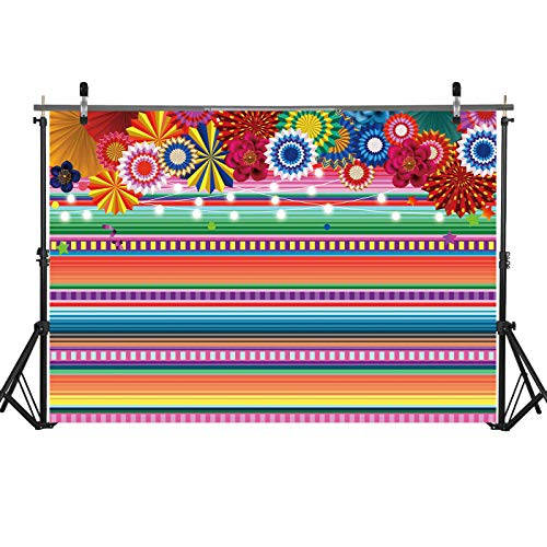 7x5ft Mexican Fiesta Theme Backdrop Colorful Floral String Lights Cinco De Mayo Mexican Festival Holiday Event Decorations Banner Background Photo Studio Booth Props -