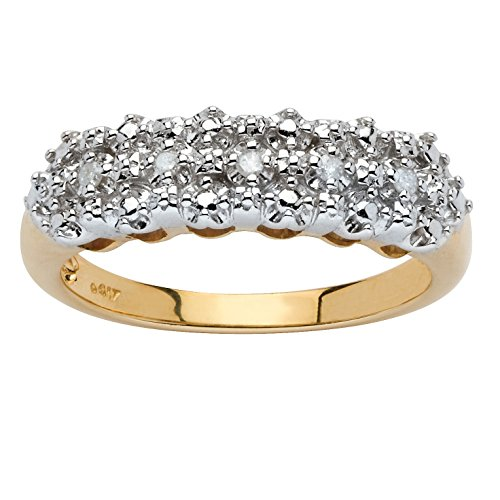 White Diamond Accent 10k Yellow Gold Cluster Ring Size 10