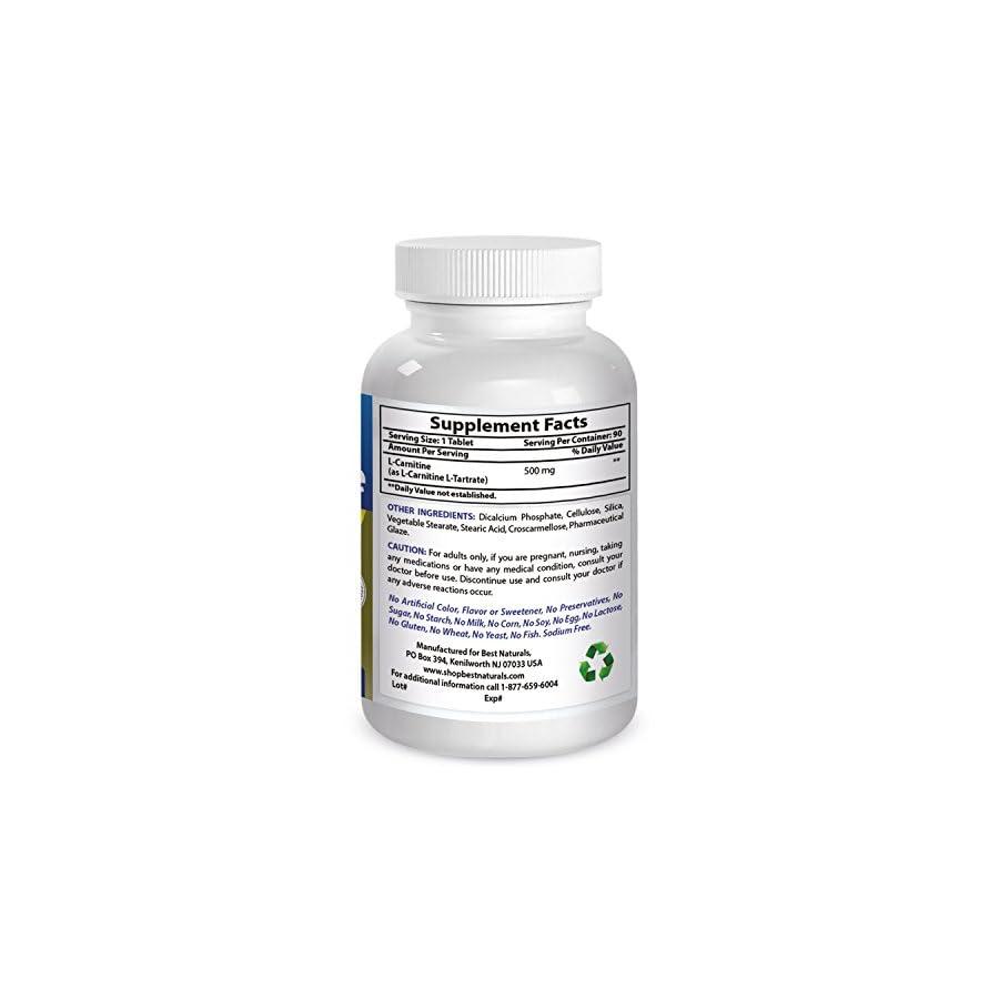 Best Naturals L Carnitine Tartrate 500 mg 90 Tablets
