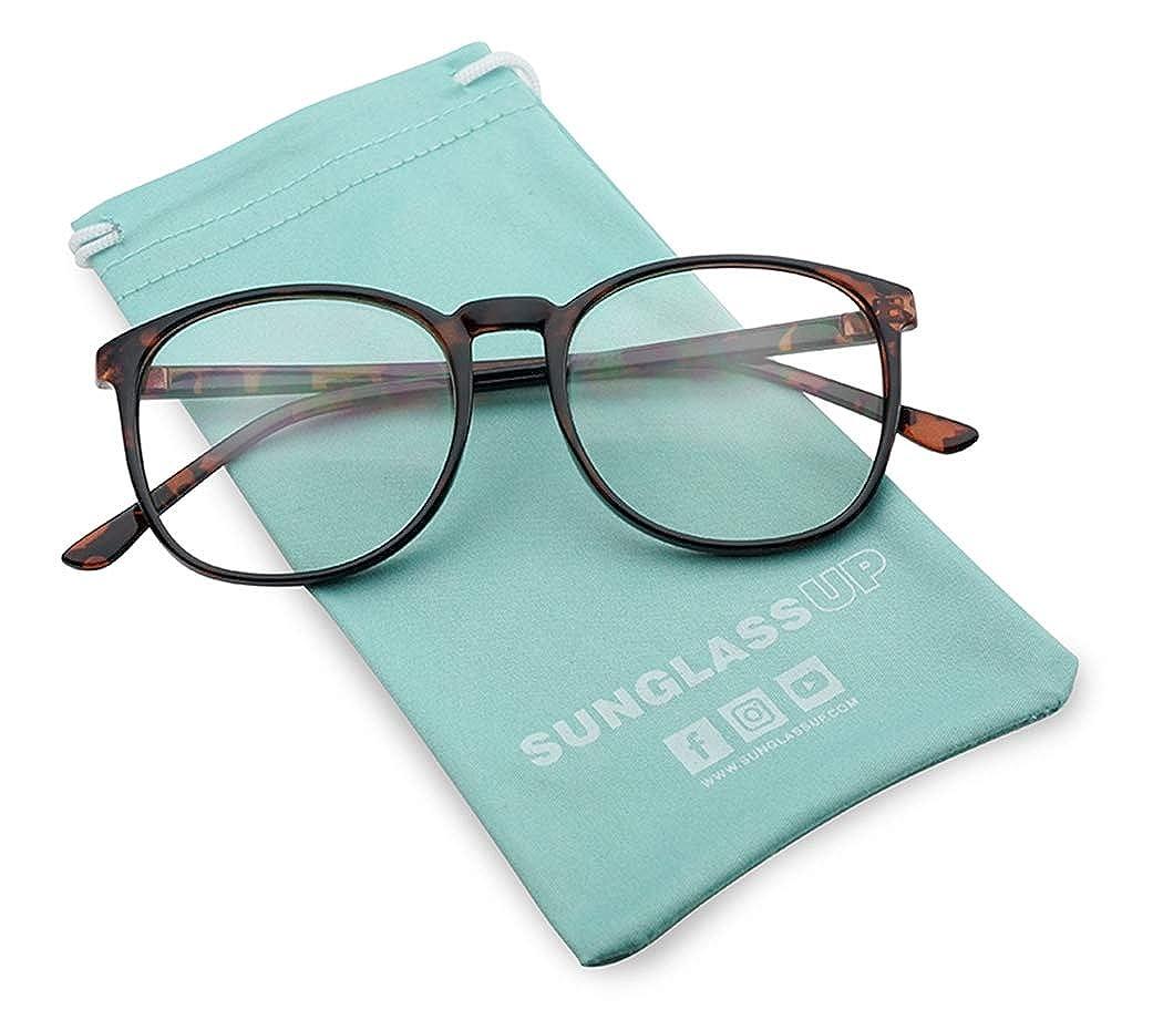 Classic Non Prescription Clear Lens Eye Glasses For Men Women Round Tortoise Frame with Clear 100/% UV PC Lenses