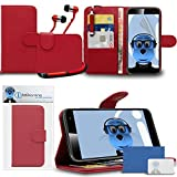 Vodafone Smart Platinum 7 Red PU Leather Wallet Case with Credit Card Holder and Viewing Stand - LCD Screen Protector - Retractable Mini Stylus Pen - 3.5mm ZIPPER Stereo Hands Free HeadPhones with Mic
