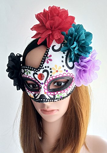 Coolwife Women's Masquerade Mask Mexican Day Of The Dead Sugar Skull Eyemask Masque Fancy Dress