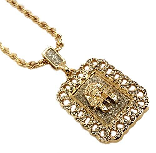 18k Gold Plated Egyptian Pharoah King Tutankhamun Cuban Link Pendant Fashion Necklace (Egyptian King Tut Necklace)