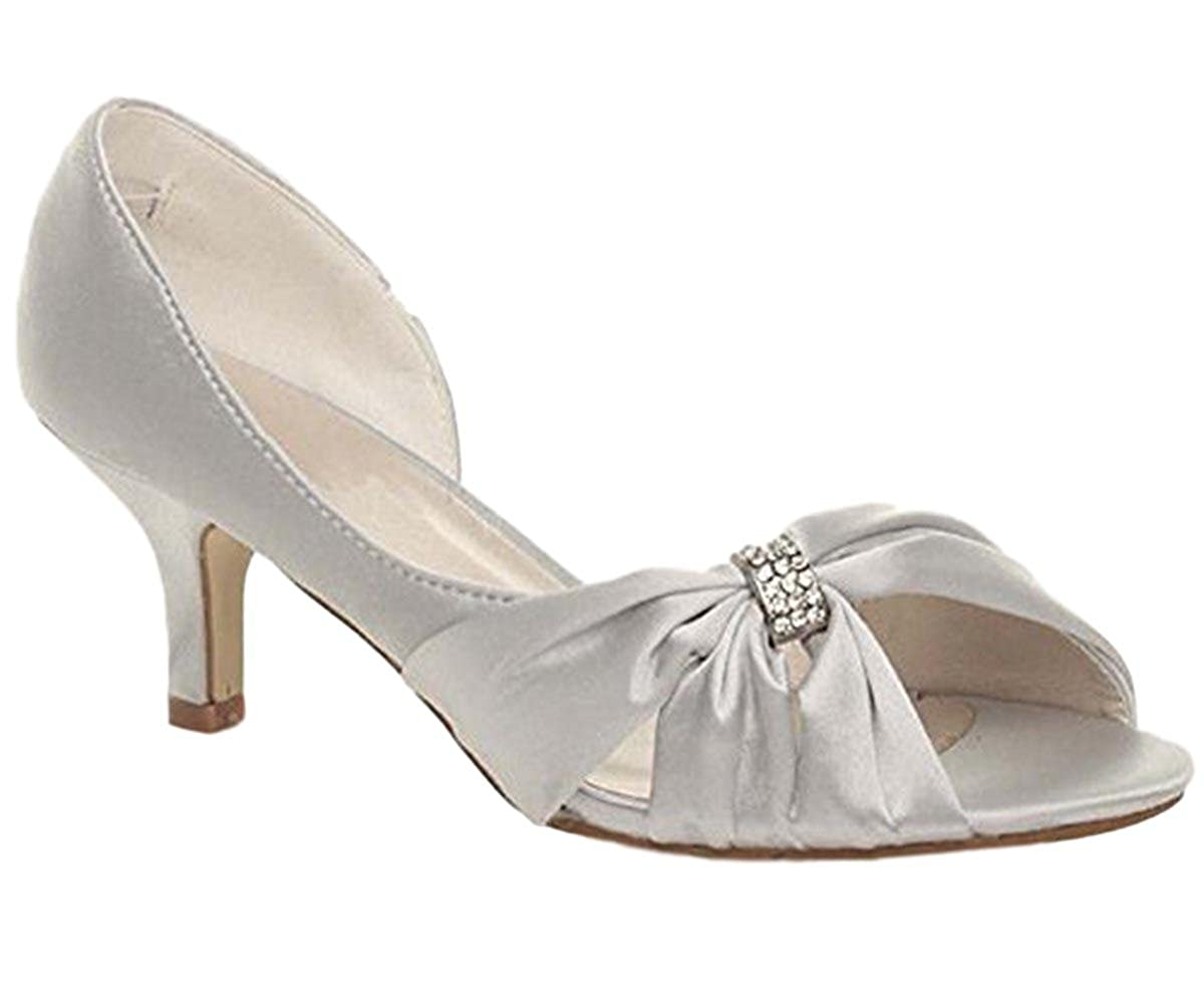 a093819843c Chic Feet Womens Ladies Silver Satin Evening Wedding Bridesmaid Prom Low  Heel Peep Toe Shoes  Amazon.co.uk  Shoes   Bags