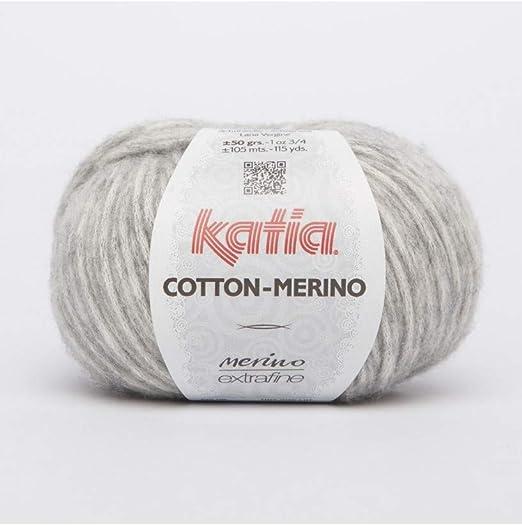 Katia Cotton Merino Fb. 106 Soft Grey Ovillo de lana con lana de ...