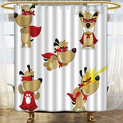 Mikihome Shower Curtain Customized Superhero Puppy with Paw