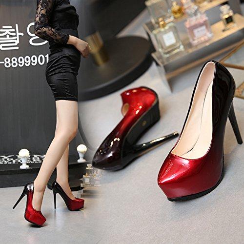 Sexy Tischfarbe KHSKX Heels Absätzen Schuhe Schuhe High mit hohen Heels wasserdicht Nachtabnutzung High A17Bnq1