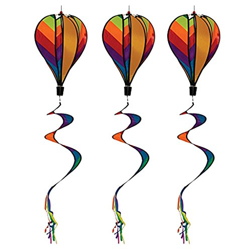 DYNWAVE 3PCS Brightly Colored Hot Air Balloon Wind Spinners for Home Garden, Backyard, Lawn, Camping Decorating, Outdoor Advertisements, Festival Celebration