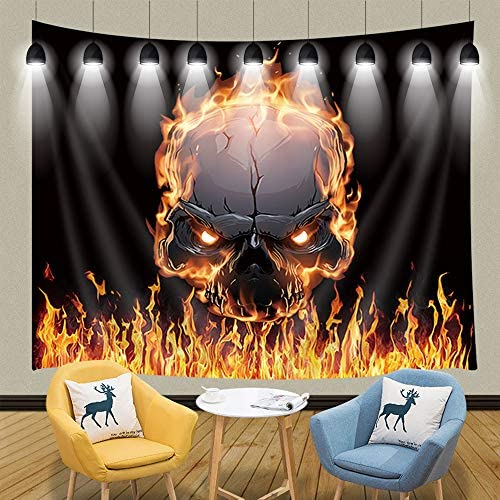 JAWO Magical Tapestry Wall Hanging, Burning Skull with Flame Tapestries, Polyester Fabric Large Wall Tapestry for Home Living Room Bedroom Dorm Decor 90W X 70L Inches
