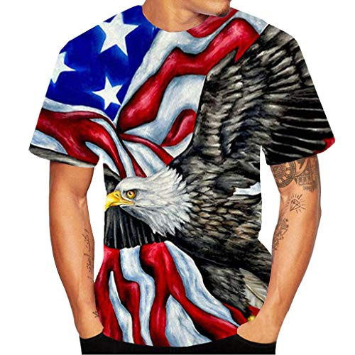 3D Leopard Hole Printed Short-Sleeved T-Shirt Men's Fashion Leisure Blouse Top