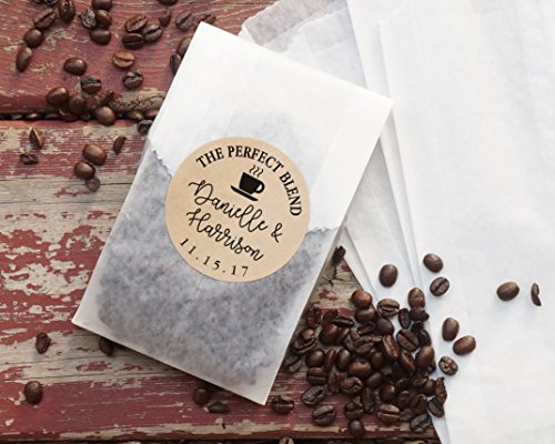 Coffee Wedding Favor Bags, Coated Grease Resistant Bags, Personalized Kraft Paper Stickers, Party Favor, Bridal Shower, The Perfect Blend - Set of 20 Bridal Blend Coffee Wedding Favors