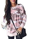 AlvaQ Women Long Sleeve Camo Printed Sweatshirt Casual Long Sleeve Fall Cothiong Blouses Tops Plus Size Pink 2X