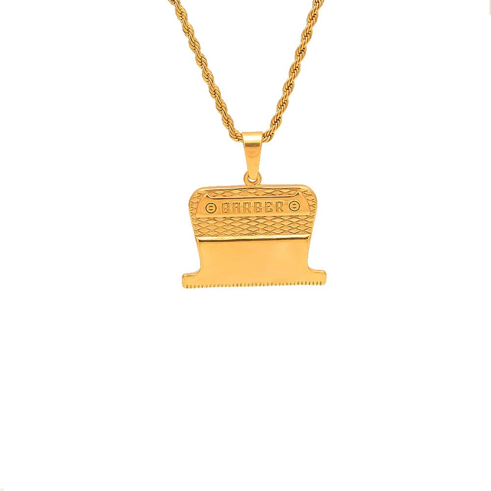 Jewelrysays Hip Hop Jewelry Fashion Men Gold Personality Barber Pendant Necklace (Rope Chain)