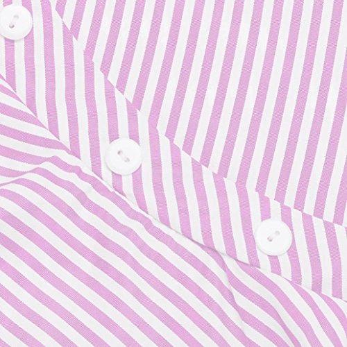 Maglietta shirt Parte Della Volant Corta A Camicetta Pizzo Crop Asimmetrico Manica Camicia Raglan Casuale Con Righe Bluse Maglie Tops Spalla Superiore Longra T Rosa Donna Moda vqpw0