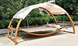 2 Person Swing Hammock Bed and Canopy Roof, Double Arched Larch Hardwood Frame Outdoor Deck Patio Garden