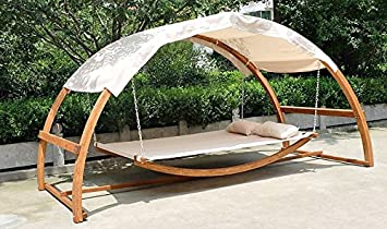 2 person swing hammock bed and canopy roof double arched larch hardwood frame outdoor deck