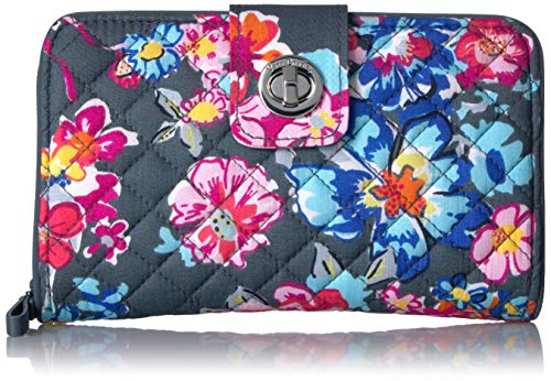 Vera Bradley Iconic RFID Turnlock Wallet, Signature Cotton, Pretty Posies