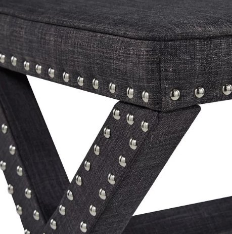 Contemporary Linen Fabric Upholstered 17 Inch Bench Ottoman Vanity Stool with X Legs and Silver Nailhead - Includes Modhaus Living Pen (Dark Gray)