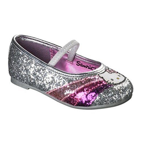 Hello Kitty Toddler & Girls Silver Glitter Dress Shoes Rainbow Flats 6T