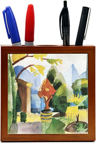 Rikki Knight August Macke Art Garden in Hilterfingen Design 5-Inch Wooden Tile Pen Holder (RK-PH3170) (Macke Garden)
