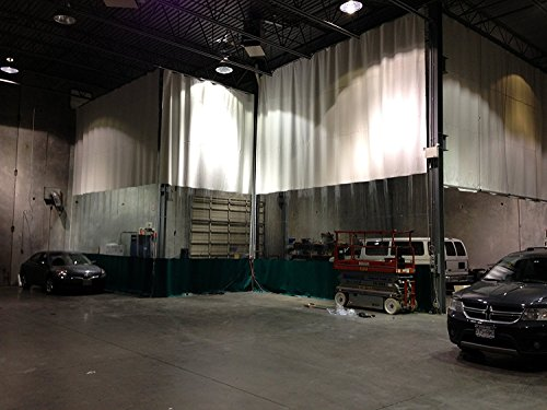 - Bodyshop Paint Booth Vinyl Curtain - 1 Color: Clear - Width 20 ft. X Height 10 ft. - 18 oz Fire Rated Curtain - Hardware Included (Threaded Rod Kit)