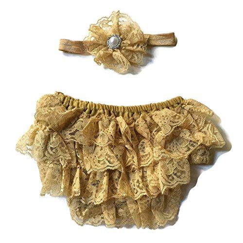 Rush Dance Lace Ribbon Baby Ruffle Bloomers Diaper Covers & Headband (Small (0-6M), Gold)