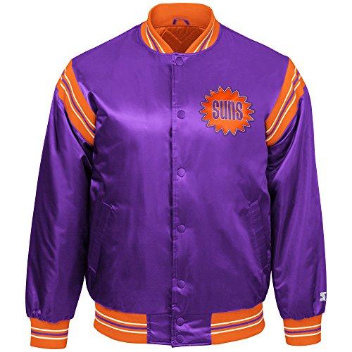 STARTER NBA Phoenix Suns Youth Boys The Enforcer Retro Satin Jacket, Large, Purple