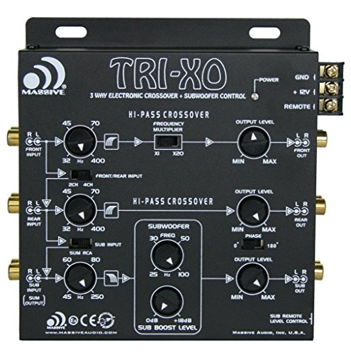 (Massive Audio TRI-XO - 3 Way Electronic Crossover with Subwoofer Control, 180 Phase Switch, 3 Sets 5V Outputs, Adjustable Crossovers)
