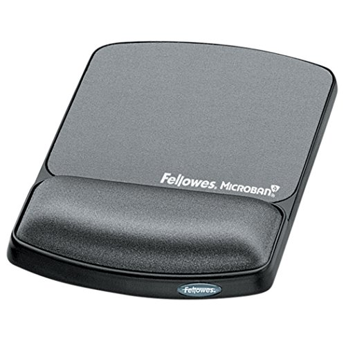Fellowes Gel Wrist Rest & Mouse Pad with Microban, Black (9175101) (Gel 9175101)