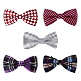 two color ties - BMC 5 pc Mens Mixed Color Assorted Pattern Formal Pre-Tied Adjustable Neck Tie Bowties - Set 2: Hipster Chic
