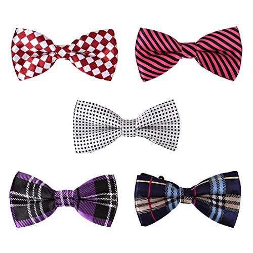 BMC 5 pc Mens Mixed Color Assorted Pattern Formal Pre-Tied Adjustable Neck Tie Bowties - Set 2: Hipster Chic