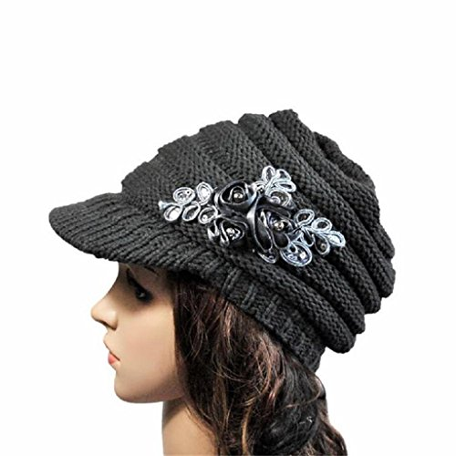 YANG-YI Autumn Winter Women Hat Brim Sequin Applique and Tide Knit Cap (gray, ONE SIZE)