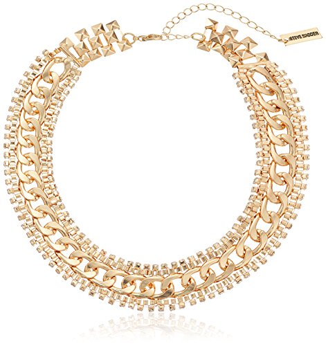 "Steve Madden Gold Rhinestone Chain-Link Necklace, 15"" + 3"" Extender from Steve Madden"