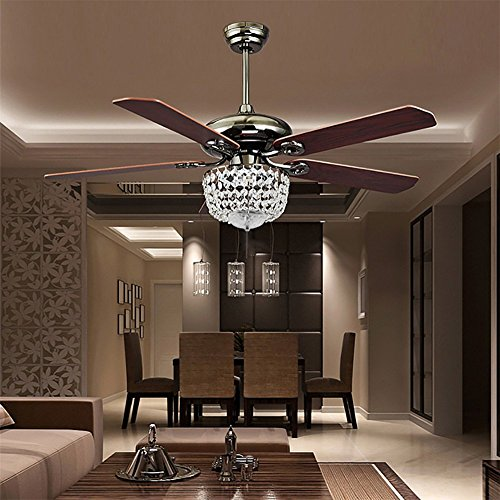 COLORLED American Luxury Crystal Antique Wood 5-Leaves 52 Inch Pull Switch Ceiling Fan for Living Room Bedroom Dining Room Led Fan Chandelier Lighting Fixture by COLORLED (Image #1)