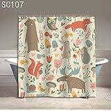 SUN-Beige Cartoon Animals Decor Polyester Shower Curtain Liner Waterproof and Mildew , B , 150*180cm