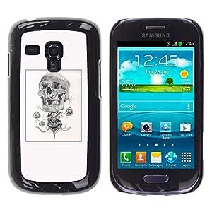 Shell-Star Arte & diseño plástico duro Fundas Cover Cubre Hard Case Cover para Samsung Galaxy S3 III MINI (NOT REGULAR!) / I8190 / I8190N ( Skull Rose Biker Poster Black White )