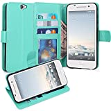 HTC One A9 Case, LK [Kickstand Feature] HTC A9 Wallet Case, Luxury PU Leather Flip Case Cover Built-in Card Slots & Stand For HTC One A9 (Mint)
