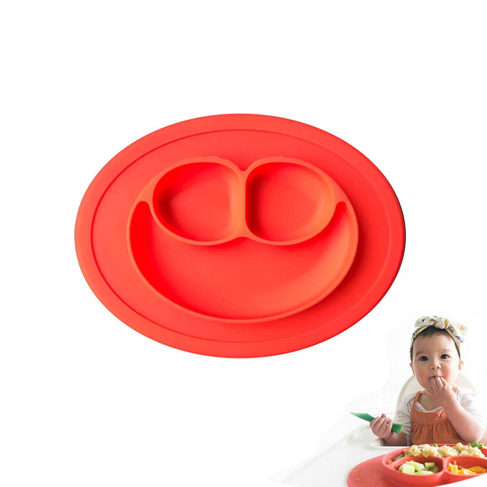 Silicone Section Plate One-piece Silicone Placemat + Plate for Children, Kids, Toddlers (Green) Pro-Noke