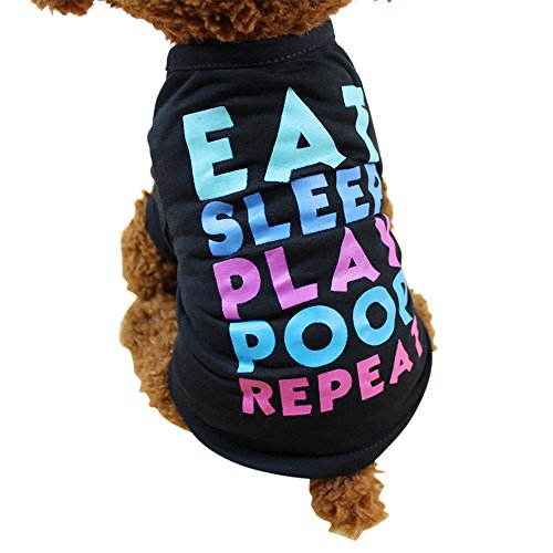 WEUIE Big Puppy Clothes Summer Dog Clothing Polyester T-Shirt Puppy Costume for Small Dog (XL, Black)]()