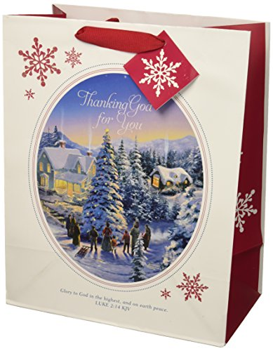 Large Specialty Gift Bag - Christmas - Thomas Kinkade Thanking God for You (Thanking For The Gift)