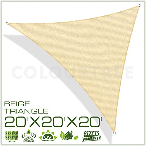 ColourTree 20' x 20' x 20' Sun Shade Sail Triangle Beige Canopy Awning Shelter Fabric Cloth Screen – UV & Water Resistant Heavy Duty Commercial Grade Outdoor Patio Carport (Custom Size (Extra Heavy Duty Shelter)
