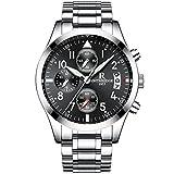 Men's Stainless Steel Watch Luxury Fashion Casual Dress Waterproof Watches (silver)