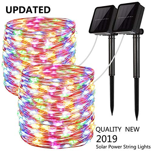 Upgraded Solar Powered String Lights, 2 Pack 8 Modes 100 LED Solar Fairy Lights Waterproof 33ft Silver Wire Lights Outdoor Garden String Lights for Home Patio Yard Party Decoration (Multi Color) from LiyuanQ