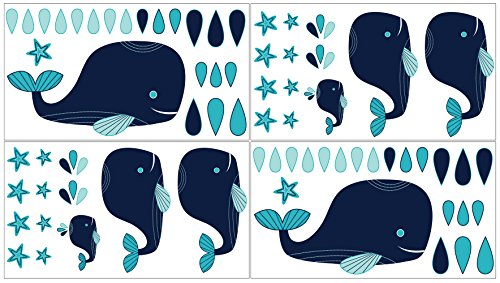 Blue Whale Girl or Boy Baby and Kids Wall Decal Stickers - Set of 4 ()