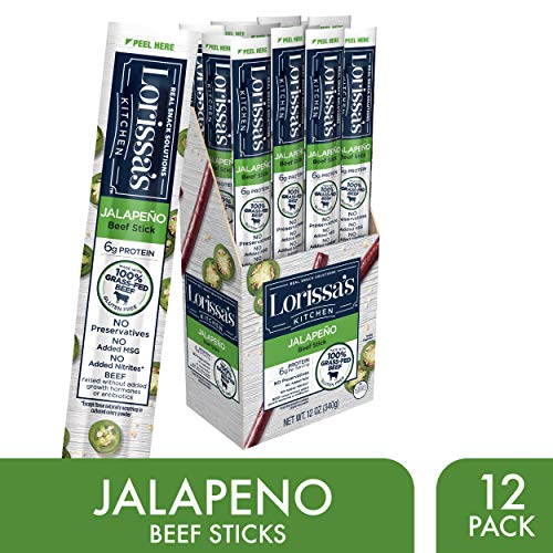 Lorissa's Kitchen Grass Fed Beef Sticks, Jalapeño, 1 oz., Pack of 12 - Made with 100% Grass-Fed Beef, No Added Nitrites or Nitrates - Keto Friendly Snacks, Gluten Free (Packaging - Beef Hot Stick