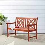 Vifah V1493 Outdoor Wood Garden Bench, Decorative, Brown